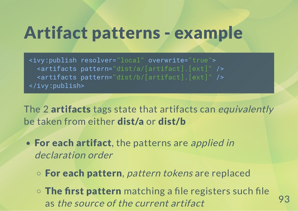 Artifact patterns - example <ivy:publish resolv...