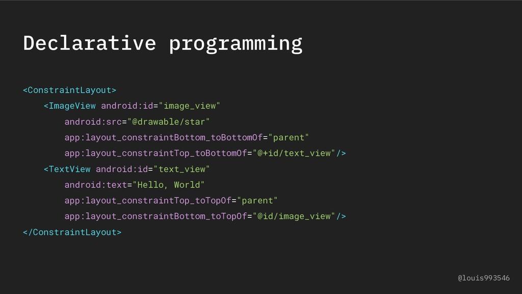 Declarative programming <ConstraintLayout> <Ima...