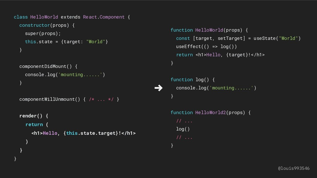 function HelloWorld(props) { const [target, set...