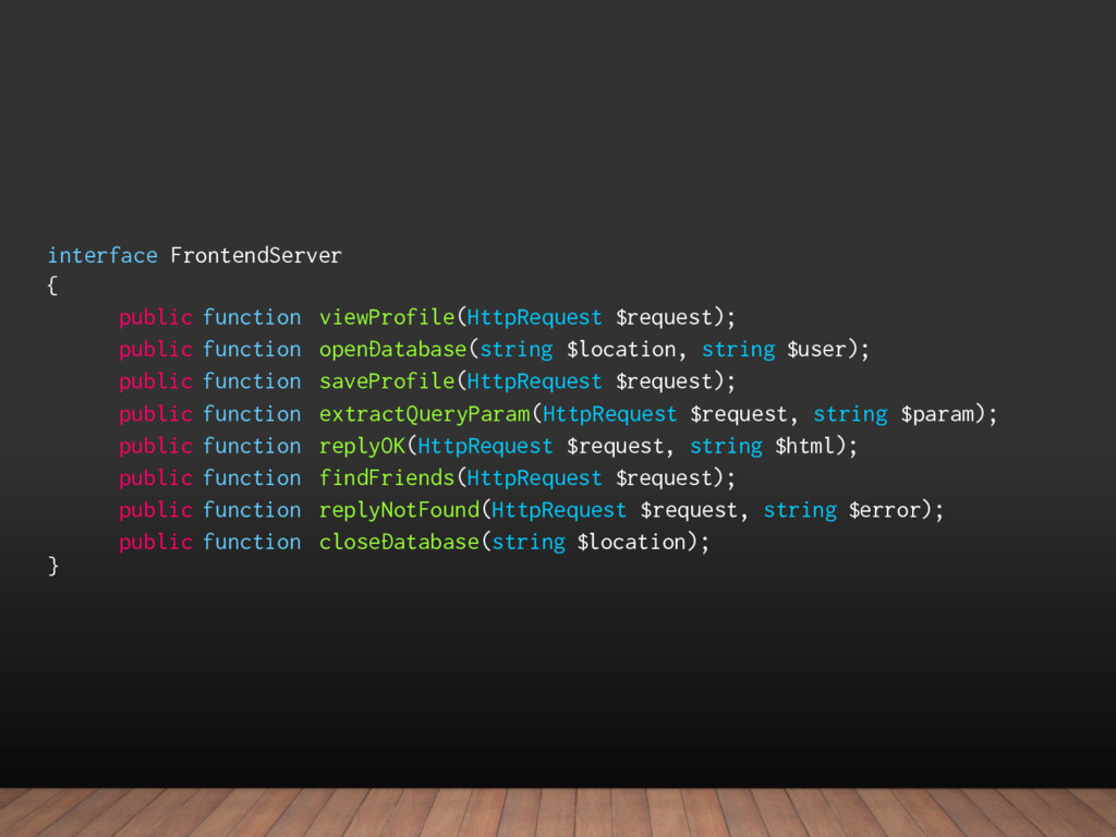 interface FrontendServer { public function view...
