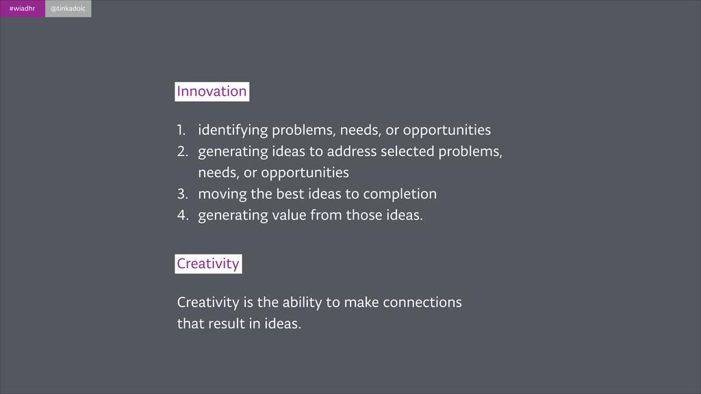 #wiadhr @tinkadoic Innovation 1. identifying pr...