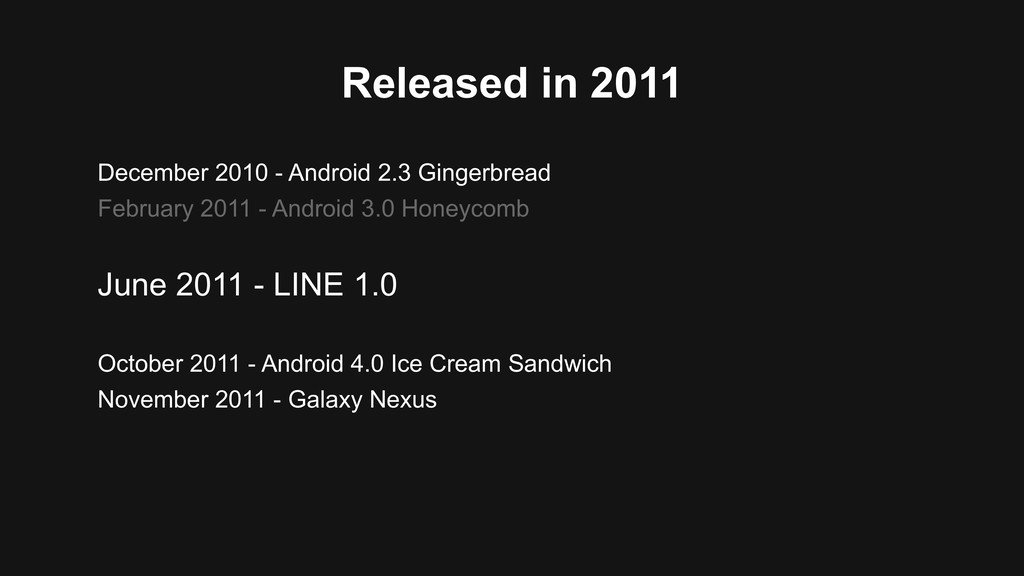 Released in 2011 December 2010 - Android 2.3 Gi...