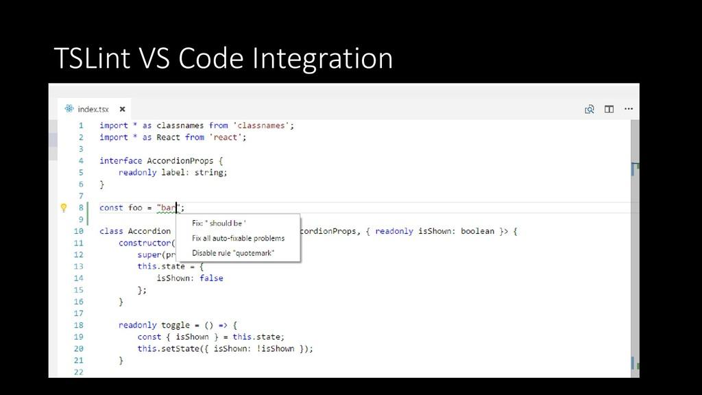 TSLint VS Code Integration