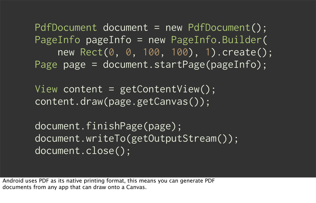PdfDocument document = new PdfDocument(); PageI...