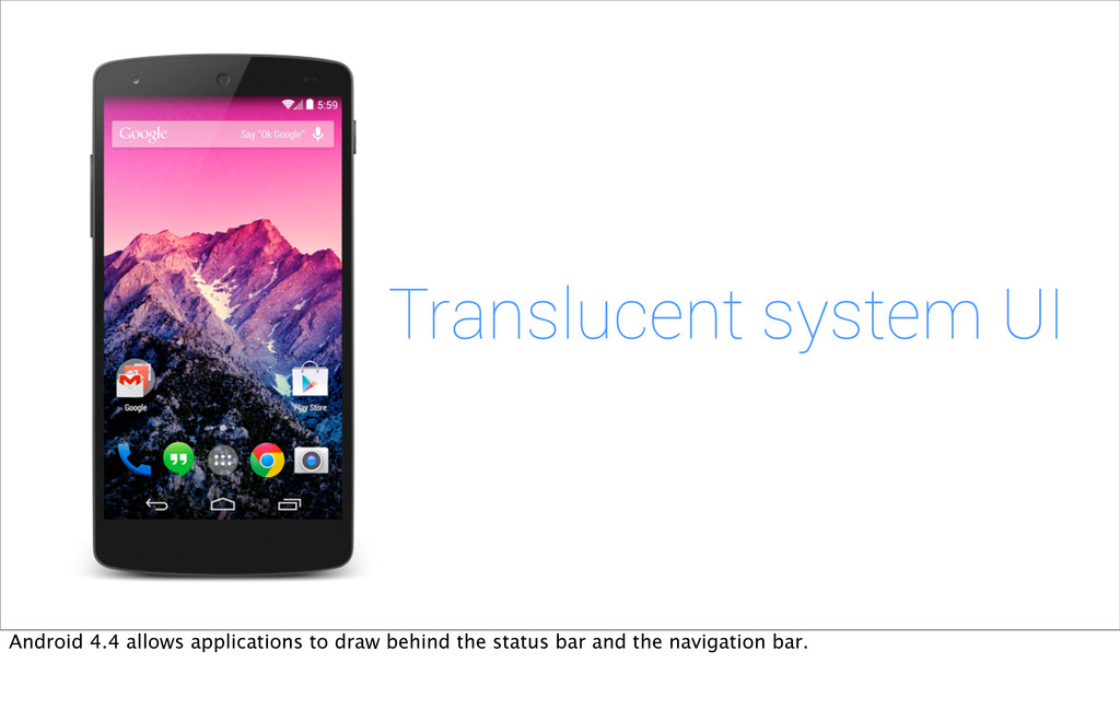 Translucent system UI Android 4.4 allows applic...