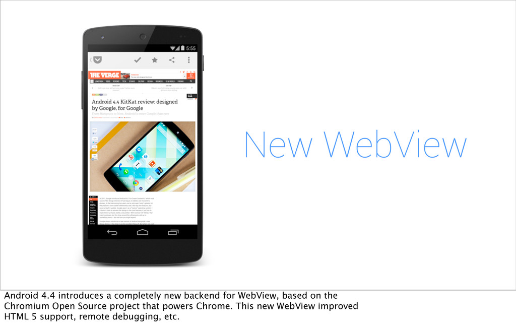 New WebView Android 4.4 introduces a completely...