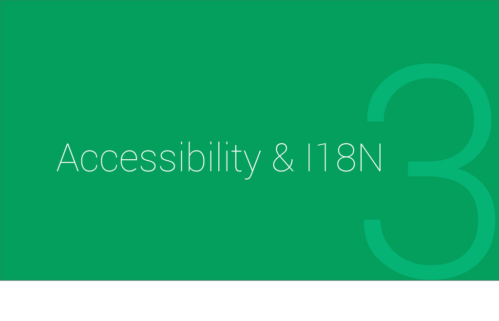 3 Accessibility & I18N