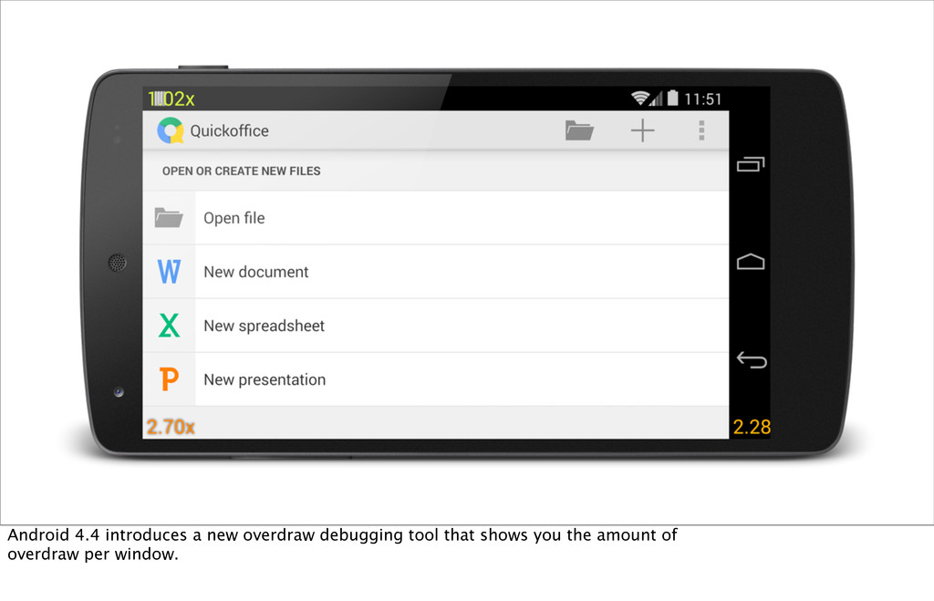 Android 4.4 introduces a new overdraw debugging...