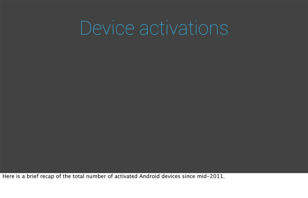 Device activations Here is a brief recap of the...