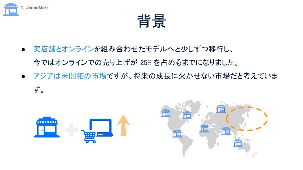 背景 ● 実店舗とオンラインを組み合わせたモデルへと少しずつ移行し、 今ではオンラインでの...