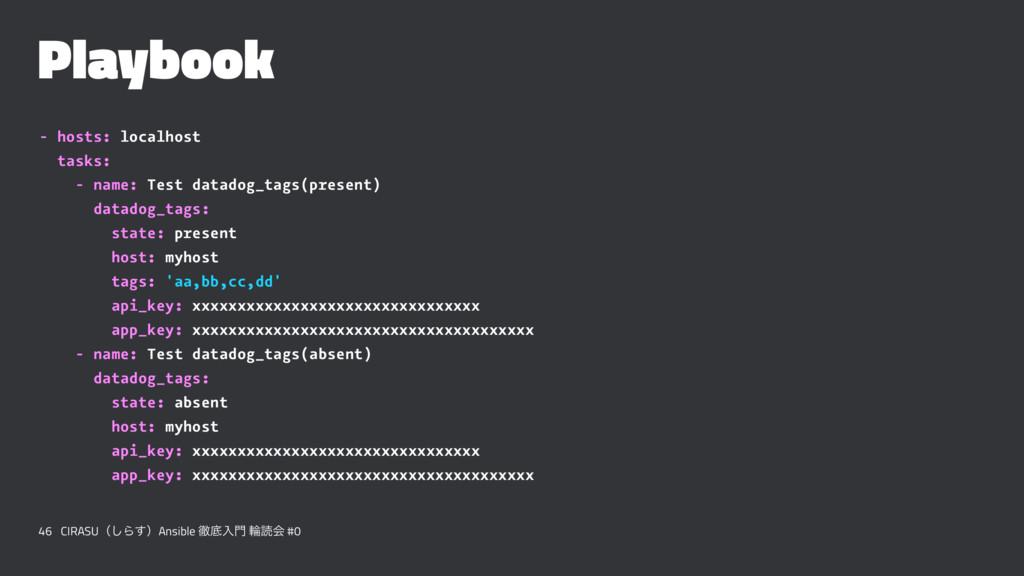 Playbook - hosts: localhost tasks: - name: Test...