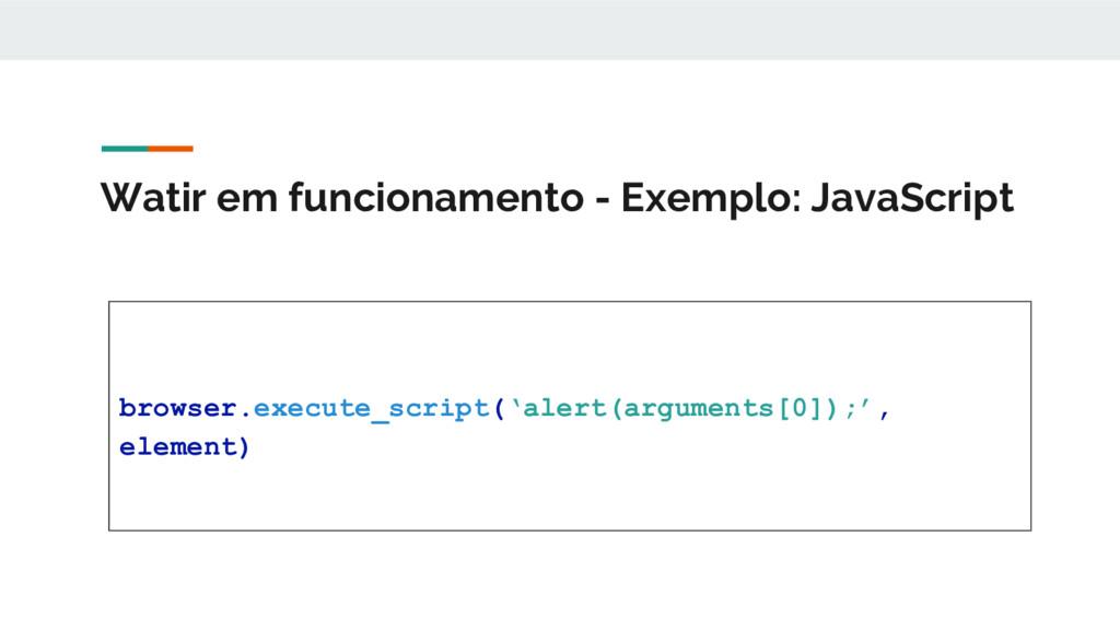 Watir em funcionamento - Exemplo: JavaScript br...