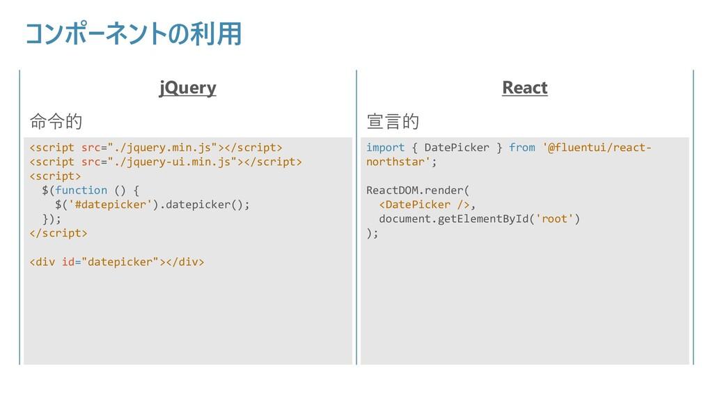 """コンポーネントの利用 jQuery React 命令的 宣言的 <script src=""""./..."""