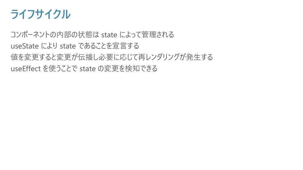 ライフサイクル コンポーネントの内部の状態は state によって管理される useState...