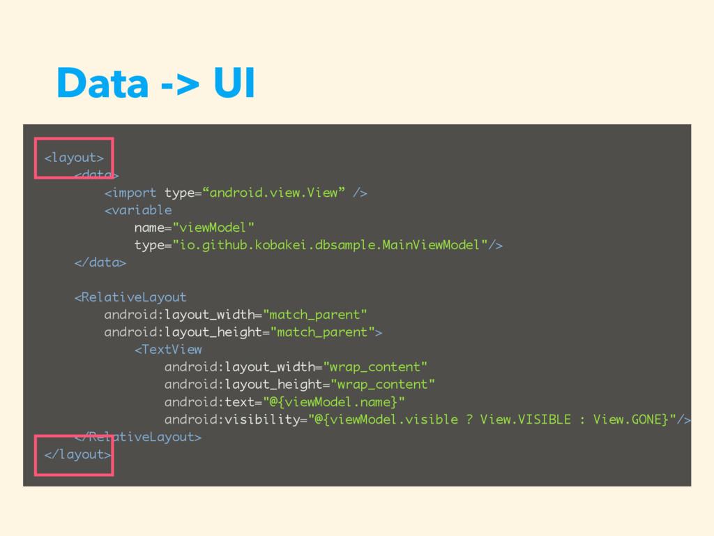 "Data -> UI <layout> <data> <import type=""androi..."