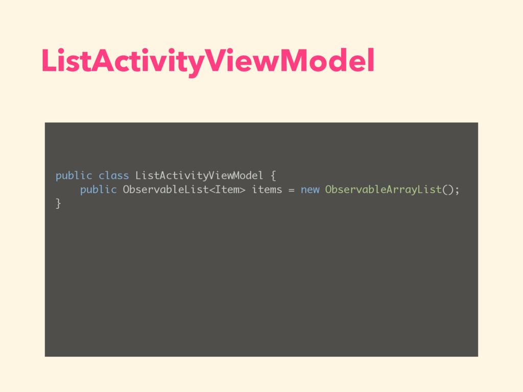 ListActivityViewModel public class ListActivity...