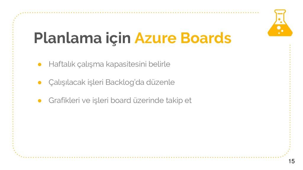 Planlama için Azure Boards ● Haftalık çalışma k...