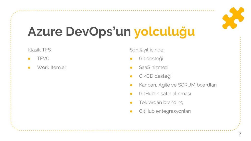 Azure DevOps'un yolculuğu Klasik TFS: ● TFVC ● ...