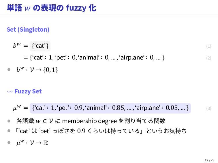 単語  の表現の fuzzy 化 Set (Singleton)  = {'cat'} (1)...