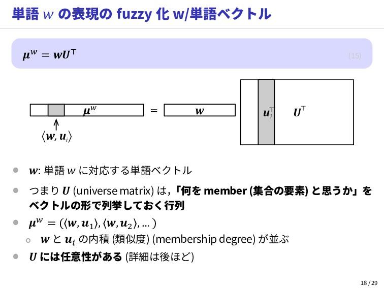 単語  の表現の fuzzy 化 w/単語ベクトル  =  (15) w U u μw 〈w,...
