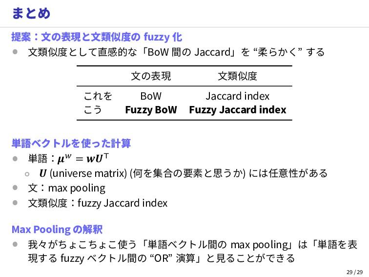 まとめ 提案:文の表現と文類似度の fuzzy 化 • 文類似度として直感的な「BoW 間の ...