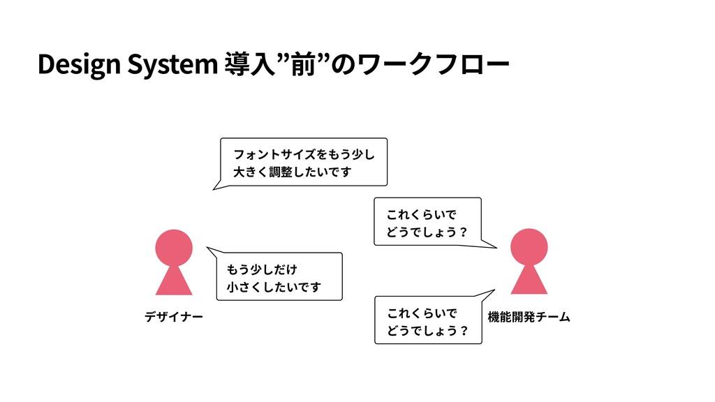 "Design System 導⼊""前""のワークフロー デザイナー 機能開発チーム フォントサイ..."