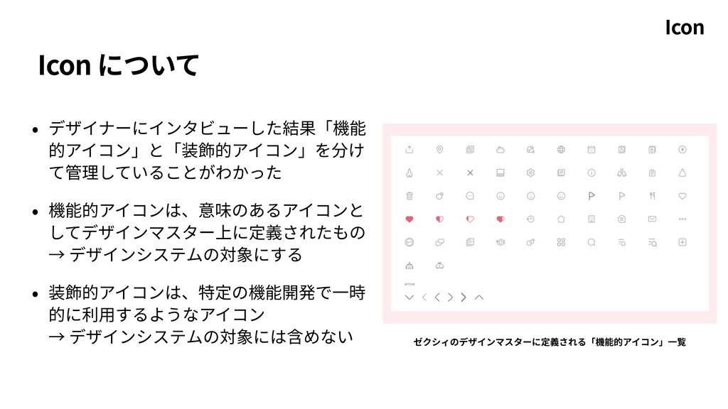 Icon について • デザイナーにインタビューした結果「機能 的アイコン」と「装飾的アイコン...