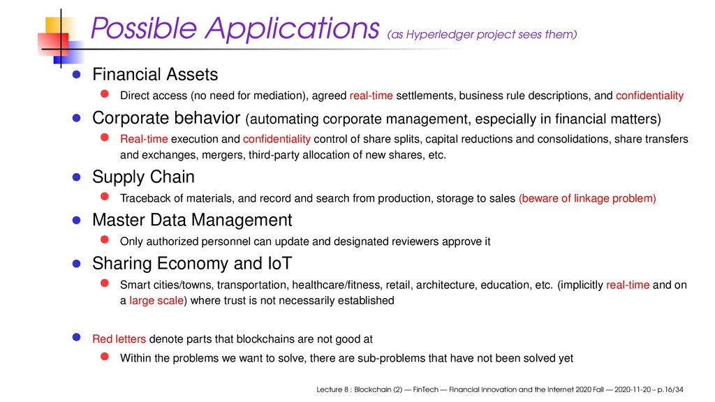 Possible Applications (as Hyperledger project s...