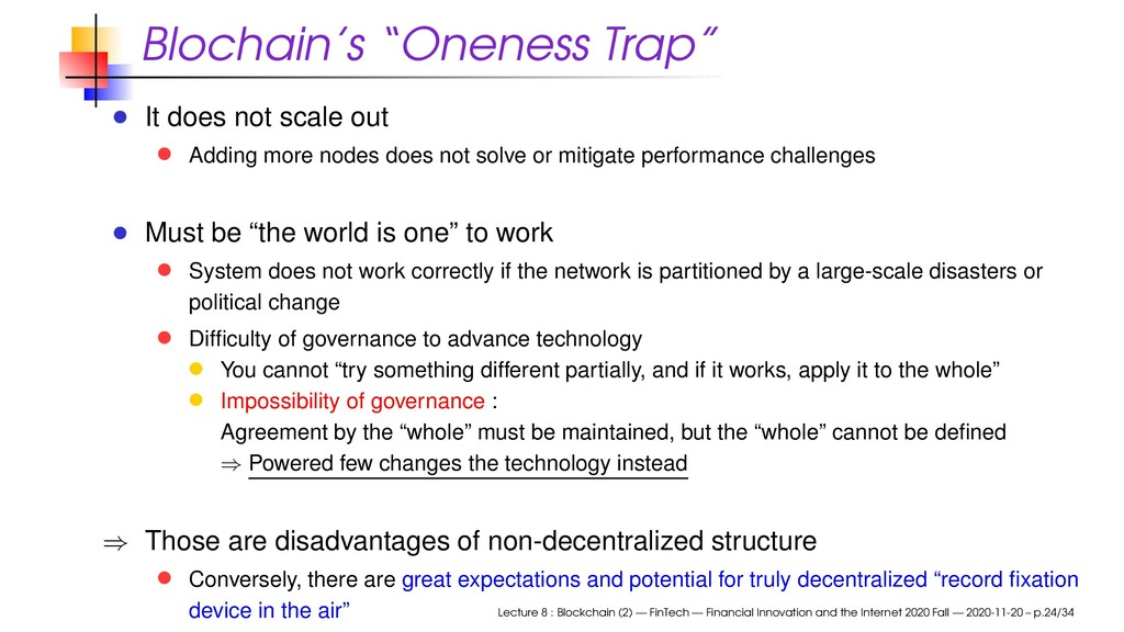 "Blochain's ""Oneness Trap"" It does not scale out..."