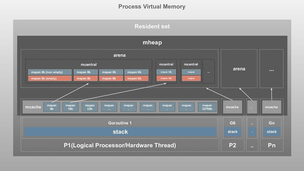 Process Virtual Memory Resident set mheap P1(Lo...