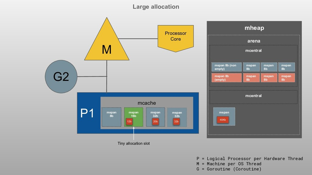 Large allocation P1 M G2 Processor Core P = Log...