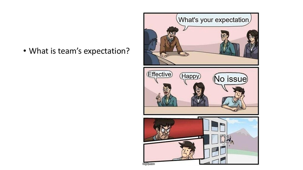• What is team's expectation?