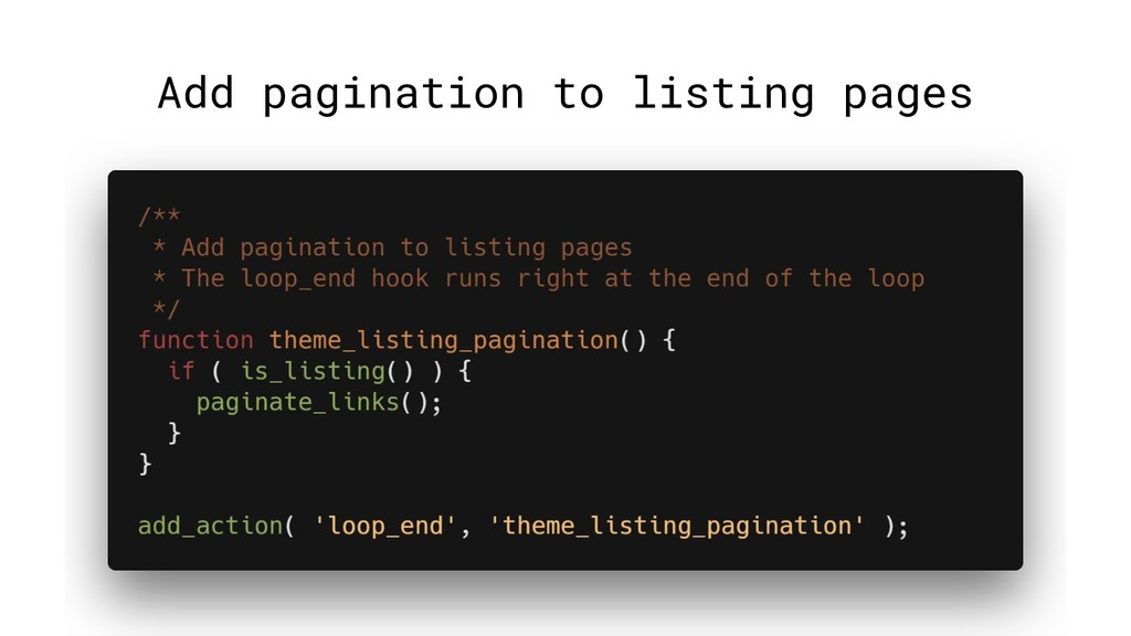 Add pagination to listing pages