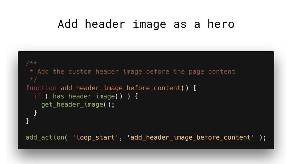 Add header image as a hero