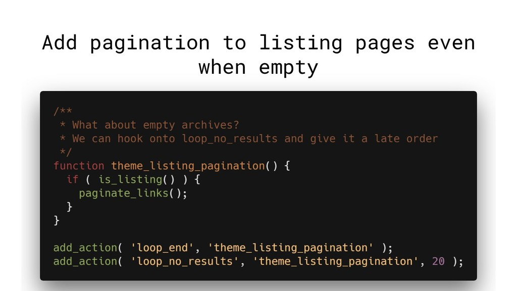 Add pagination to listing pages even when empty