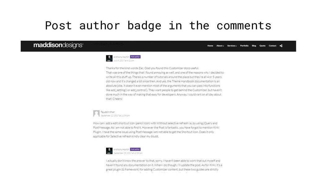 Post author badge in the comments