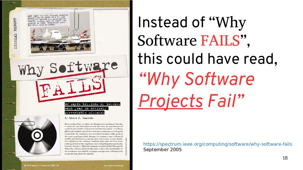 """18 Instead of """"Why Software FAILS"""", this could ..."""
