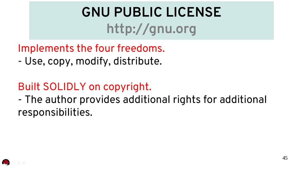 45 GNU PUBLIC LICENSE http://gnu.org Implements...