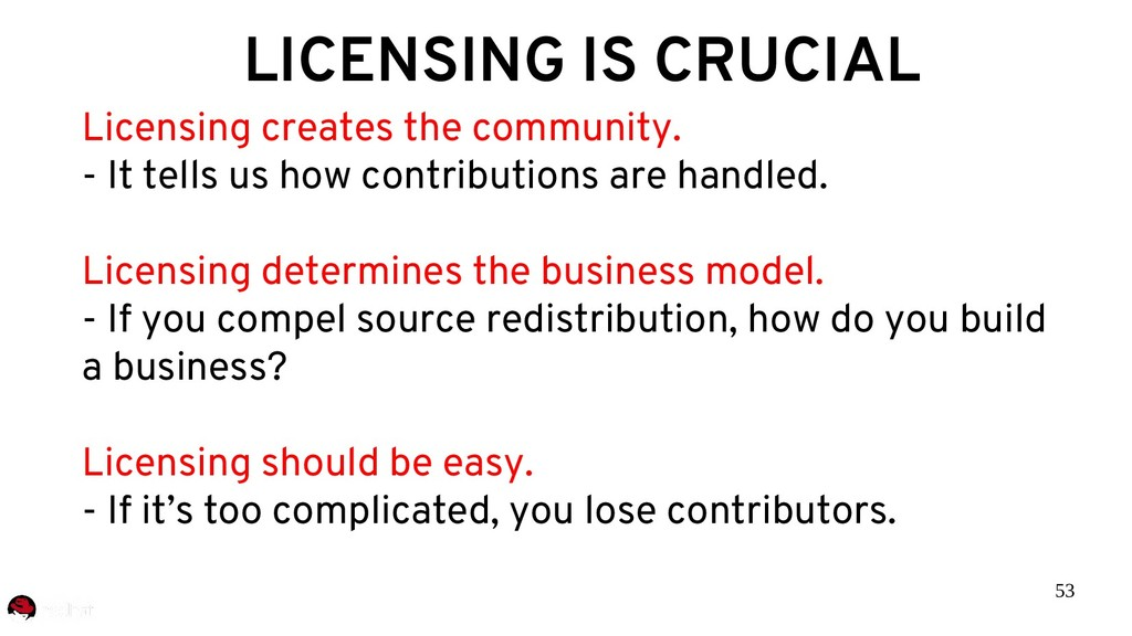 53 LICENSING IS CRUCIAL Licensing creates the c...