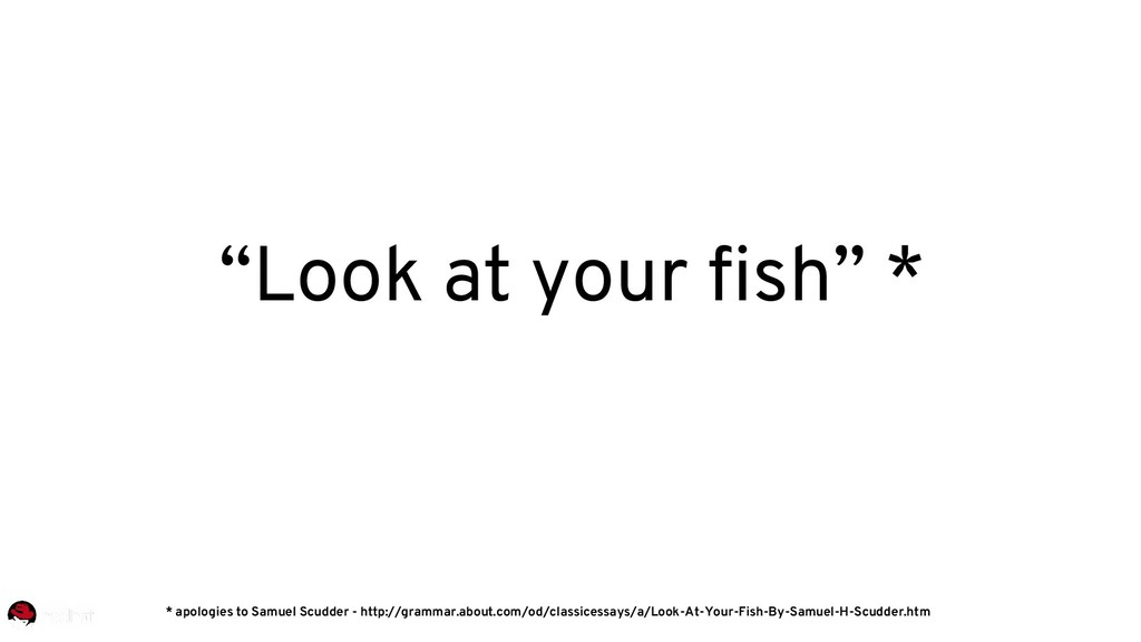 """""""Look at your fish"""" * * apologies to Samuel Scu..."""