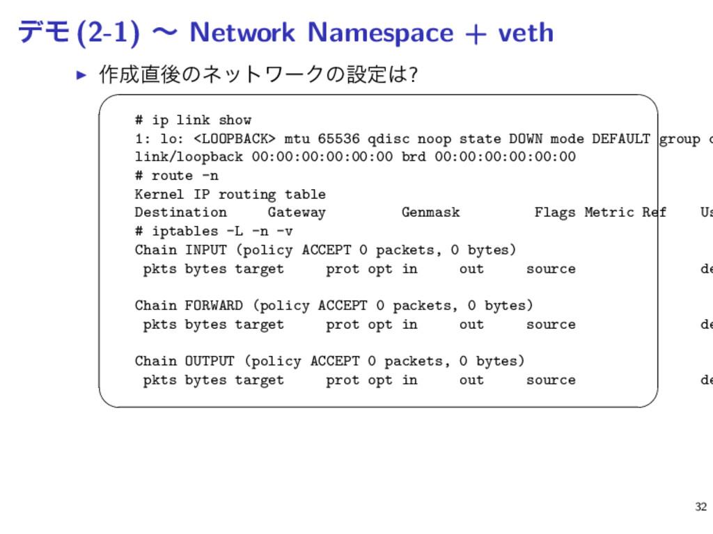σϞ (2-1) ʙ Network Namespace + veth ▶ ࡞ޙͷωοτϫ...
