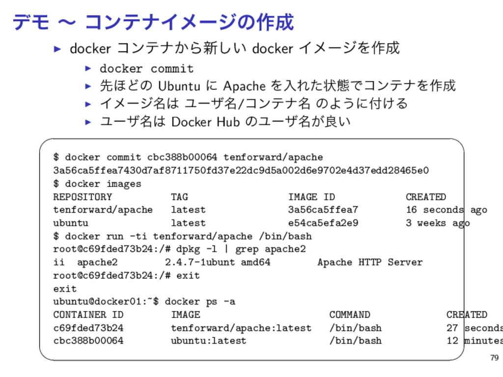 σϞ ʙ ίϯςφΠϝʔδͷ࡞ ▶ docker ίϯςφ͔Β৽͍͠ docker Πϝʔδ...