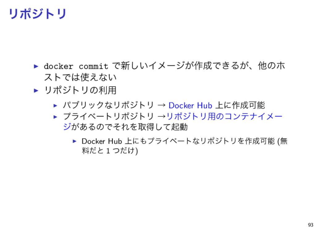 ϦϙδτϦ ▶ docker commit Ͱ৽͍͠Πϝʔδ͕࡞Ͱ͖Δ͕ɺଞͷϗ ετͰ...