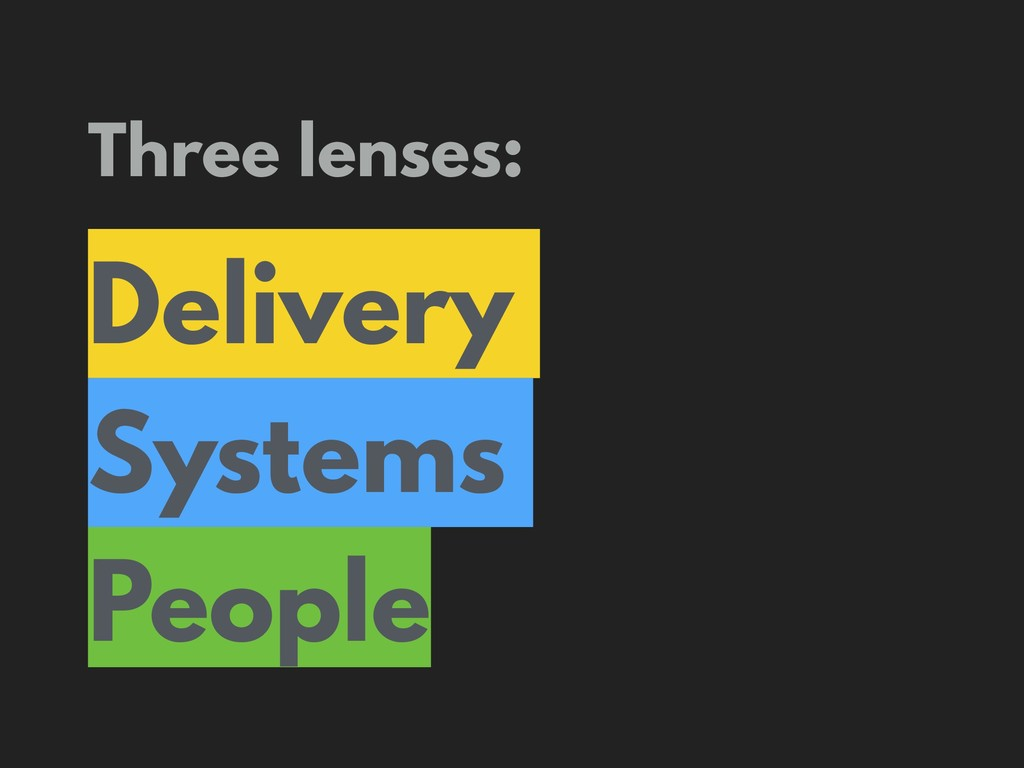 Three lenses: Delivery Systems People