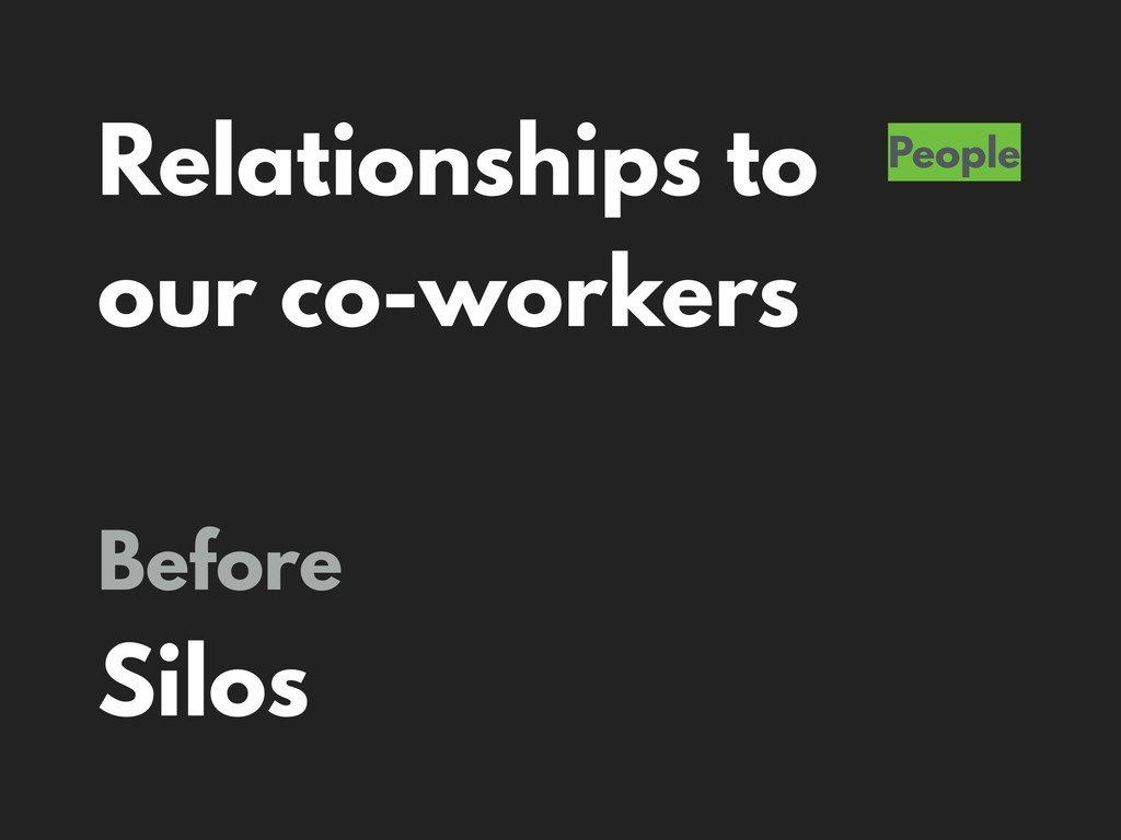 Relationships to our co-workers People Before S...