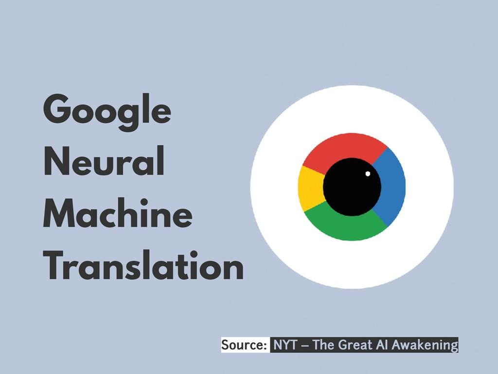 Google Neural Machine Translation Source: NYT –...