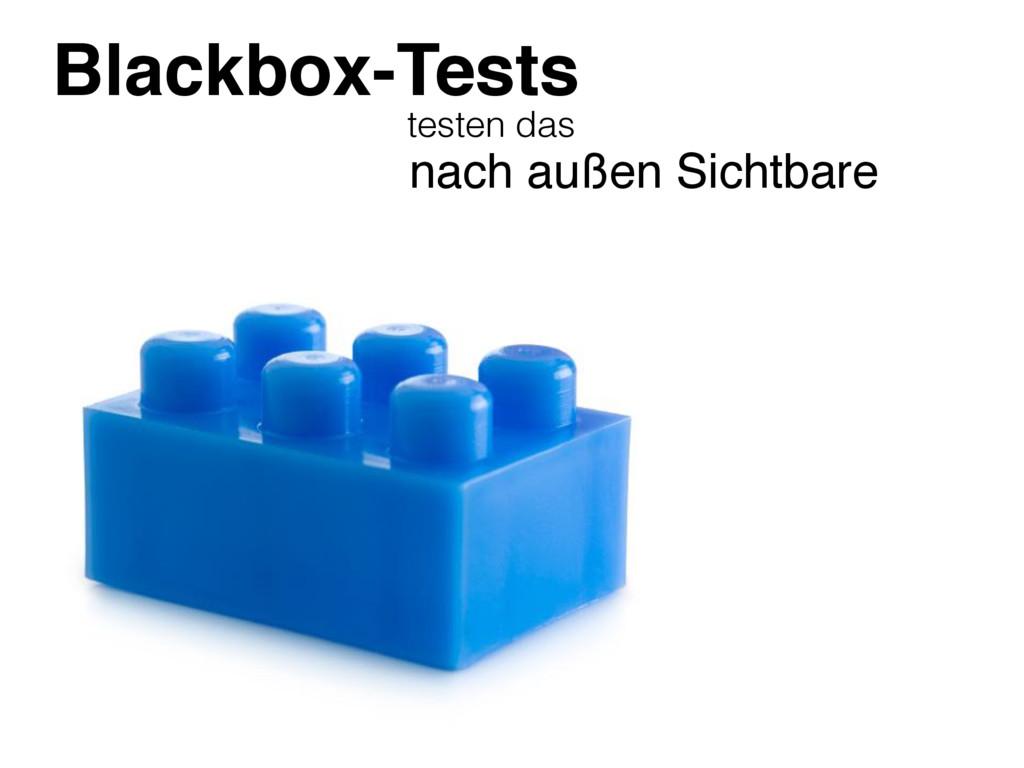Blackbox-Tests testen das nach außen Sichtbare