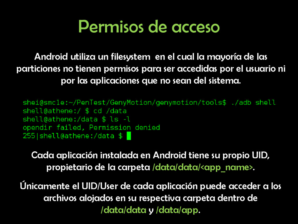 Permisos de acceso Android utiliza un filesyste...