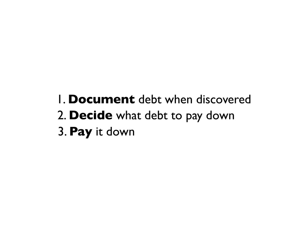 1. Document debt when discovered 2. Decide what...