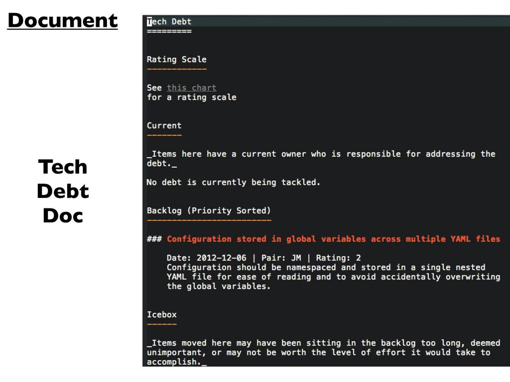 Document Tech Debt Doc
